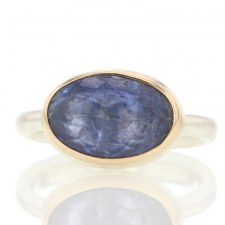 Inverted Faceted Tanzanite Silver and Gold Ring Image